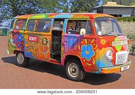 Novi Sad Serbia - July 13 2017: hippie van is symbol of music festival Exit held in Novi Sad Serbia