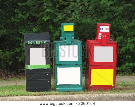 Row Newspaper Blank Stands