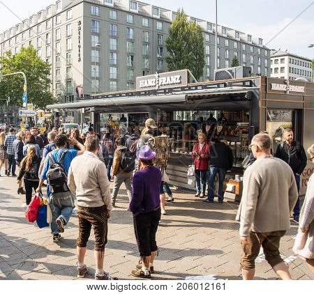MunichGermany-September 242017:People follow signs on their way to the Oktoberfest