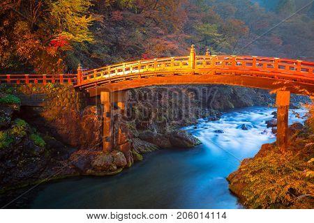 Shinkyo Bridge during autumn in Nikko, Tochigi, Japan
