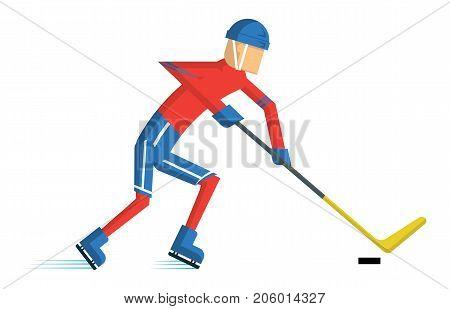 Hockey player. sport cartoon action Vector illustration