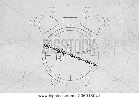 Alarm Clock Protected By A Chain With Lock