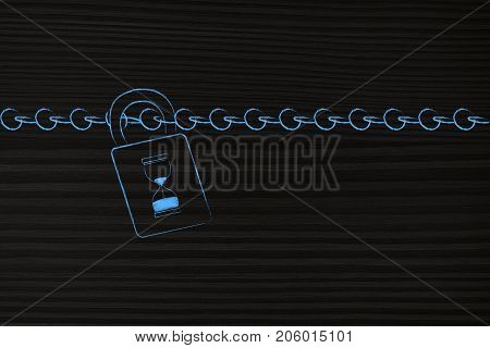 Chain And Lock With Hourglass Instead Of Keyhole
