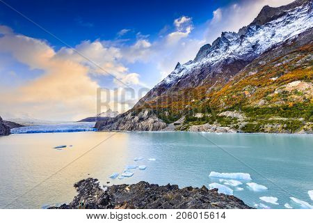 Patagonia Chile - Grey Glacier is a glacier in the Southern Patagonian Ice Field on Cordillera del Paine
