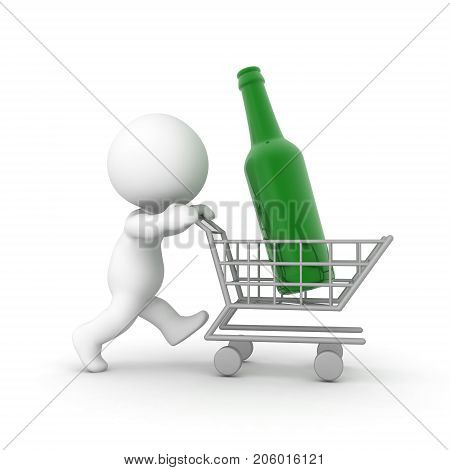 3D Character pushing a shopping cart with a giant bottle in it. Image can convey consumerism or alcoholism