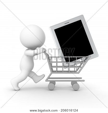 3D Character pushing shopping cart with giant tablet in it. Isolated on white.