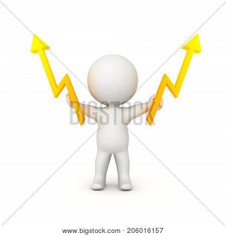 3D Character holding two lightning bolts in his hands. Isolated on white.