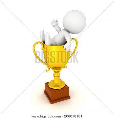 3D Character lounging inside of a golden trophy. Image relating to celebration or victory.