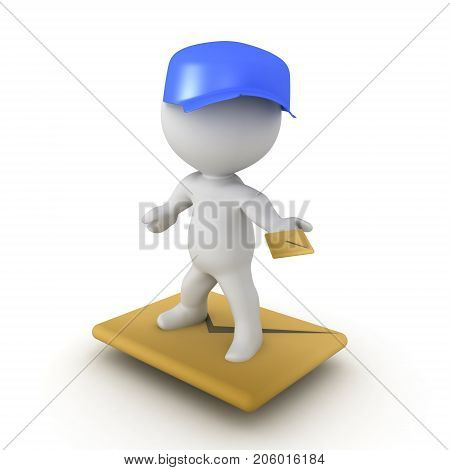3D illustration of postman flying on a mail envlope. Isolated on white.