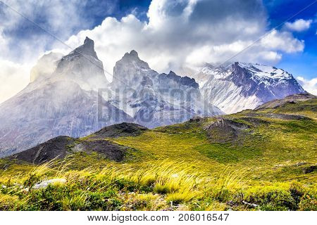 Torres del Paine Chile - Patagonia landscape with Andes Mountains in austral emisphere. Magellanes Region.