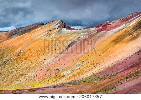 Vinicunca Peru - Winicunca Rainbow Mountain (5200 m) in Andes Cordillera de los Andes Cusco region in South America.