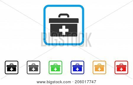 First Aid Toolbox icon. Flat pictogram symbol inside a rounded frame. Black, gray, green, blue, red, orange color variants of First Aid Toolbox vector. Designed for web and application UI.