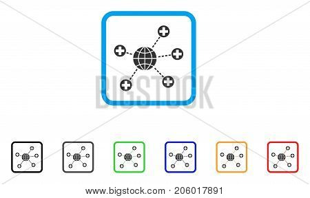 Global Medical Links icon. Flat pictogram symbol inside a rounded frame. Black, gray, green, blue, red, orange color additional versions of Global Medical Links vector.