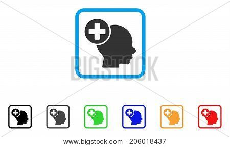 Head Treatment icon. Flat pictogram symbol inside a rounded rectangular frame. Black, gray, green, blue, red, orange color additional versions of Head Treatment vector.