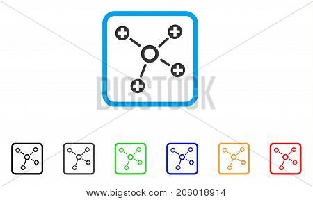 Health Care Links icon. Flat pictogram symbol inside a rounded rectangular frame. Black, gray, green, blue, red, orange color additional versions of Health Care Links vector.