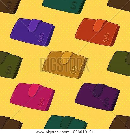 Seamless Background with Colorful Wallets with Dollar Sign, Various Leather Purses for Money, On Tile Yellow Pattern. Vector
