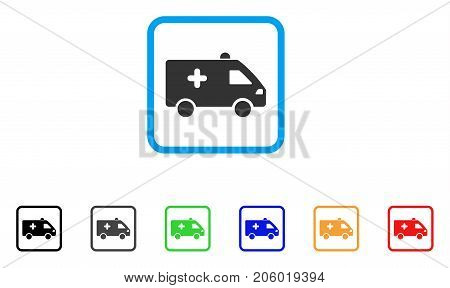 Hospital Car icon. Flat iconic symbol in a rounded squared frame. Black, gray, green, blue, red, orange color versions of Hospital Car vector. Designed for web and application UI.