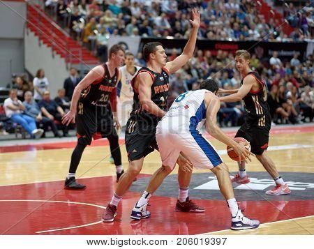 ST. PETERSBURG, RUSSIA - AUGUST 6, 2017: Basketball match Russia (black) vs Israel (white) for Kondrashin-Belov Cup. Israel won 79-71