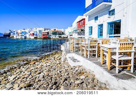 Mykonos - Little Venice waterfront houses considered one of the most romantic places on the island of Aegean Sea.