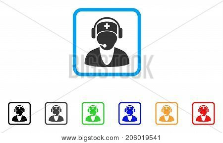 Hospital Receptionist icon. Flat pictogram symbol in a rounded squared frame. Black, gray, green, blue, red, orange color variants of Hospital Receptionist vector.