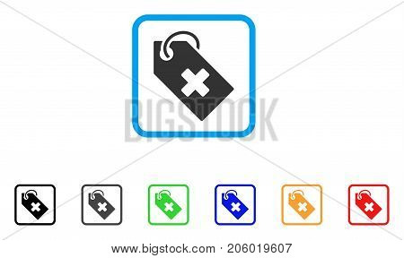 Hospital Tag icon. Flat iconic symbol in a rounded rectangle. Black, gray, green, blue, red, orange color versions of Hospital Tag vector. Designed for web and application user interface.
