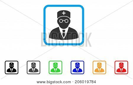 Main Physician icon. Flat pictogram symbol inside a rounded squared frame. Black, gray, green, blue, red, orange color additional versions of Main Physician vector.