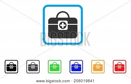 Medic Case icon. Flat iconic symbol in a rounded square. Black, gray, green, blue, red, orange color versions of Medic Case vector. Designed for web and application UI.