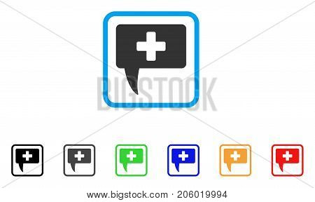 Medical Answer icon. Flat pictogram symbol inside a rounded square. Black, gray, green, blue, red, orange color additional versions of Medical Answer vector. Designed for web and app interfaces.