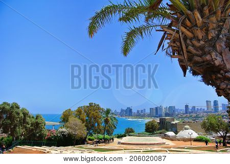 Panorama of Tel Aviv from the ancient port city of Jaffa. Israel. 2013