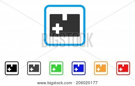 Medical Box icon. Flat pictogram symbol in a rounded square. Black, gray, green, blue, red, orange color versions of Medical Box vector. Designed for web and software UI.