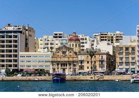 VALLETTA, MALTA - June 28, 2017: Typical Seaside port in Valletta in Malta