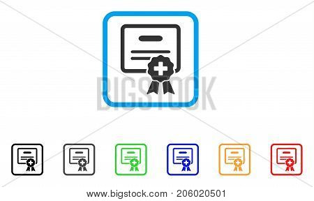 Medical Certification icon. Flat iconic symbol inside a rounded square. Black, gray, green, blue, red, orange color variants of Medical Certification vector. Designed for web and app interfaces.