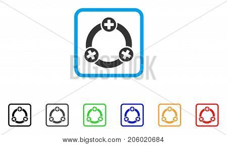 Medical Collaboration icon. Flat iconic symbol inside a rounded squared frame. Black, gray, green, blue, red, orange color additional versions of Medical Collaboration vector.