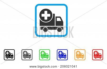 Medical Delivery icon. Flat iconic symbol inside a rounded squared frame. Black, gray, green, blue, red, orange color versions of Medical Delivery vector. Designed for web and application UI.
