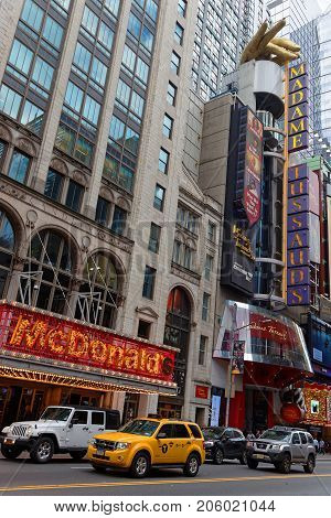 New York City, Usa, September 13, 2017 : Buildings In Times Square. Times Square Is A Major Commerci