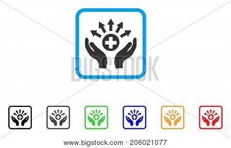 Medical Distribution Care Hands icon. Flat pictogram symbol inside a rounded frame. Black, gray, green, blue, red, orange color variants of Medical Distribution Care Hands vector.