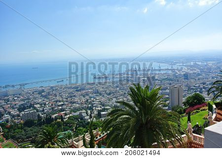 Bahai Temple and panorama to Israel's second largest seaport. Haifa. Israel