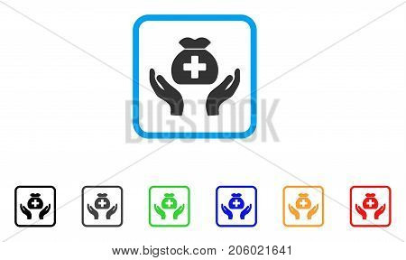 Medical Fund Care Hands icon. Flat pictogram symbol in a rounded squared frame. Black, gray, green, blue, red, orange color additional versions of Medical Fund Care Hands vector.