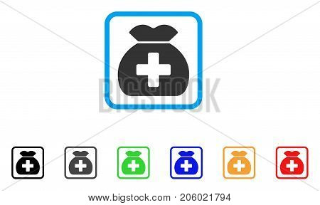 Medical Fund Sack icon. Flat pictogram symbol in a rounded frame. Black, gray, green, blue, red, orange color versions of Medical Fund Sack vector. Designed for web and software interfaces.