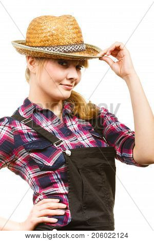 Woman Wearing Sun Hat Posing And Smiling