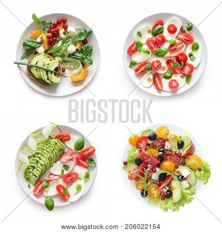 vegetarian salats on a white background