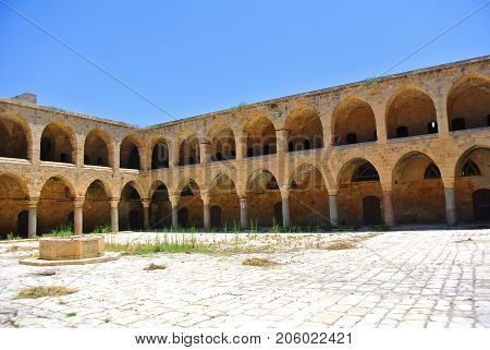 Turkish architecture of the reign of the Ottoman Empire. Khan Al-Umdan. Akko. Israel