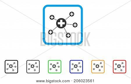 Medical Relations icon. Flat iconic symbol inside a rounded rectangle. Black, gray, green, blue, red, orange color variants of Medical Relations vector. Designed for web and software user interface.