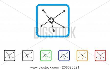 Medical Relations icon. Flat pictogram symbol inside a rounded squared frame. Black, gray, green, blue, red, orange color variants of Medical Relations vector.