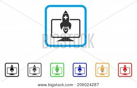 Medical Startup icon. Flat pictogram symbol inside a rounded rectangular frame. Black, gray, green, blue, red, orange color versions of Medical Startup vector. Designed for web and software UI.