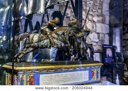 LONDON, GREAT BRITAIN - MAY 16, 2014: It is a medieval sculpture in the Armory Chamber of Henry VIII in the Tower of London.