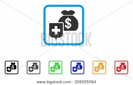 Money Bag Shield icon. Flat iconic symbol inside a rounded square. Black, gray, green, blue, red, orange color additional versions of Money Bag Shield vector. Designed for web and app user interface.