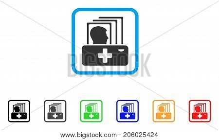 Patient Catalog icon. Flat iconic symbol in a rounded rectangular frame. Black, gray, green, blue, red, orange color versions of Patient Catalog vector. Designed for web and software user interface.