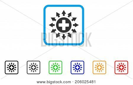 Pharmacy Distribution icon. Flat pictogram symbol in a rounded squared frame. Black, gray, green, blue, red, orange color versions of Pharmacy Distribution vector.