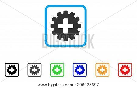 Plus Gear icon. Flat pictogram symbol inside a rounded rectangular frame. Black, gray, green, blue, red, orange color versions of Plus Gear vector. Designed for web and software user interface.
